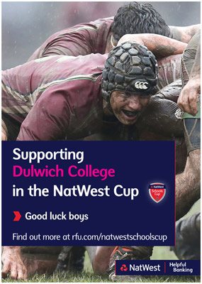 The NatWest poster to support the schools rugby finals day at Twickenham