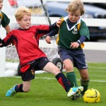 Battle stations in Kings College School's junior football tournament